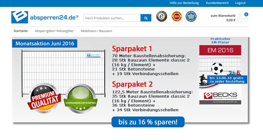Sparpakete im Bauzaunshop